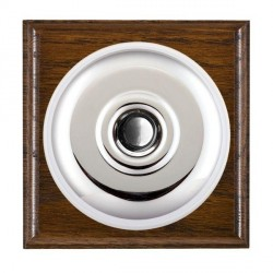 Hamilton Bloomsbury Ovolo Dark Oak Plain Bright Chrome Bell Push Toggle with White Insert