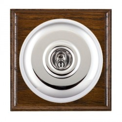 Hamilton Bloomsbury Ovolo Dark Oak Plain Bright Chrome 1 Gang 2 Way Toggle with White Insert