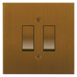 Focus SB Horizon Square Corners NHBA11.2 trimless 2 gang 20 amp 2 way rocker switch in Bronze Antique