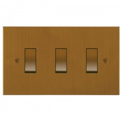 Focus SB Horizon Square Corners NHBA11.3 trimless 3 gang 20 amp 2 way rocker switch in Bronze Antique