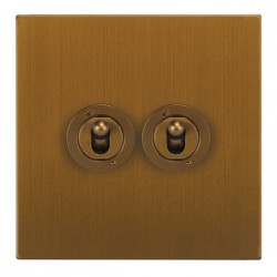 Focus SB Horizon Square Corners NHBA14.2 2 gang 20 amp 2 way toggle switch in Bronze Antique