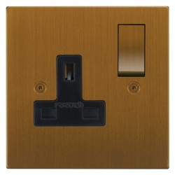 Focus SB Horizon Square Corners NHBA18.1B 1 gang 13 amp switched socket in Bronze Antique with black inserts