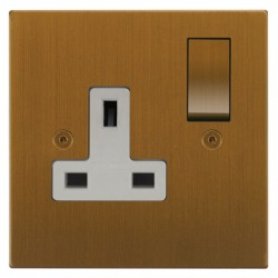 Focus SB Horizon Square Corners NHBA18.1W 1 gang 13 amp switched socket in Bronze Antique with white inserts