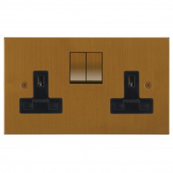 Focus SB Horizon Square Corners NHBA18.2B 2 gang 13 amp switched socket in Bronze Antique with black inserts