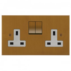 Focus SB Horizon Square Corners NHBA18.2W 2 gang 13 amp switched socket in Bronze Antique with white inserts