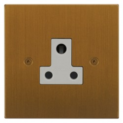 Focus SB Horizon Square Corners NHBA20.1W 1 gang 5 amp unswitched socket in Bronze Antique with white inserts