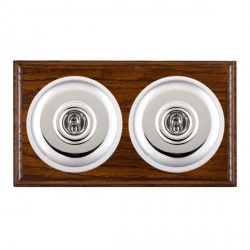 Hamilton Bloomsbury Ovolo Dark Oak Plain Bright Chrome 2 Gang 2 Way Toggle with White Insert
