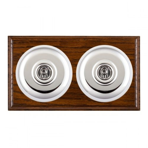 Bloomsbury Ovolo Dark Oak Plain Bright Chrome 2 Gang Intermediate Toggle