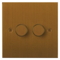 Focus SB Horizon Square Corners NHBA21.2 2 gang 2 way 250W (mains and low voltage) dimmer in Bronze Antique