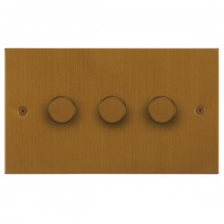 Focus SB Horizon Square Corners NHBA21.3 3 gang 2 way 250W (mains and low voltage) dimmer in Bronze Antique