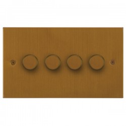 Focus SB Horizon Square Corners NHBA21.4 4 gang 2 way 250W (mains and low voltage) dimmer in Bronze Antique