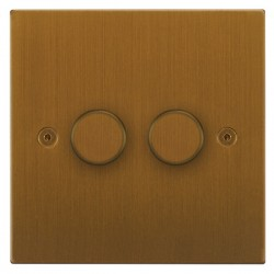 Focus SB Horizon Square Corners NHBA22.2 2 gang 2 way 400W (mains and low voltage) dimmer in Bronze Antique