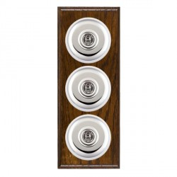 Hamilton Bloomsbury Ovolo Dark Oak Plain Bright Chrome 3 Gang 2 Way Toggle with White Insert