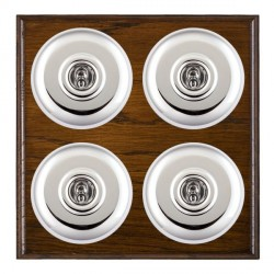 Hamilton Bloomsbury Ovolo Dark Oak Plain Bright Chrome 4 Gang 2 Way Toggle with White Insert