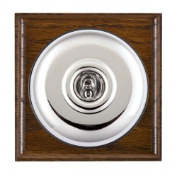 Hamilton Bloomsbury Ovolo Dark Oak Plain Bright Chrome 1 Gang Double Pole Toggle with Black Insert