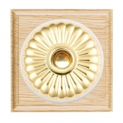 Hamilton Bloomsbury Ovolo Light Oak Fluted Polished Brass Bell Push Toggle with White Insert