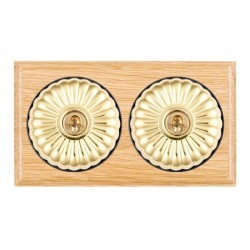 Hamilton Bloomsbury Ovolo Light Oak Fluted Polished Brass 2 Gang 2 Way Toggle with Black Insert