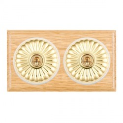 Hamilton Bloomsbury Ovolo Light Oak Fluted Polished Brass 2 Gang 2 Way Toggle with White Insert