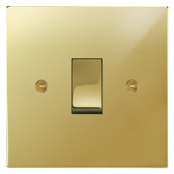 Focus SB Horizon Square Corners NHPB11.1 trimless 1 gang 20 amp 2 way rocker switch in Polished Brass