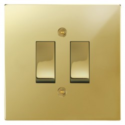 Focus SB Horizon Square Corners NHPB11.2 trimless 2 gang 20 amp 2 way rocker switch in Polished Brass