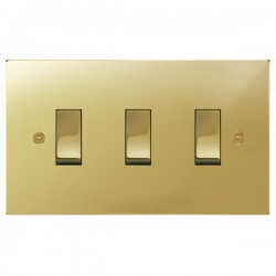 Focus SB Horizon Square Corners NHPB11.3 trimless 3 gang 20 amp 2 way rocker switch in Polished Brass
