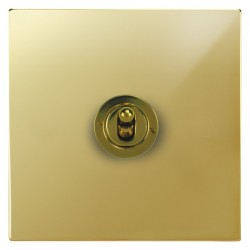 Focus SB Horizon Square Corners NHPB14.1 1 gang 20 amp 2 way toggle switch in Polished Brass