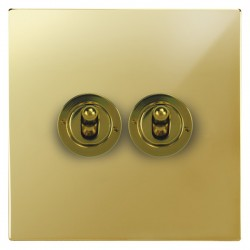 Focus SB Horizon Square Corners NHPB14.2 2 gang 20 amp 2 way toggle switch in Polished Brass