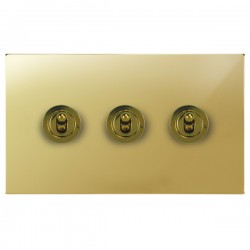Focus SB Horizon Square Corners NHPB14.3 3 gang 20 amp 2 way toggle switch in Polished Brass