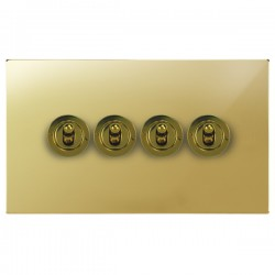 Focus SB Horizon Square Corners NHPB14.4 4 gang 20 amp 2 way toggle switch in Polished Brass