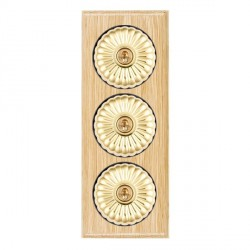 Hamilton Bloomsbury Ovolo Light Oak Fluted Polished Brass 3 Gang 2 Way Toggle with Black Insert