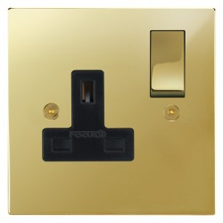 Focus SB Horizon Square Corners NHPB18.1B 1 gang 13 amp switched socket in Polished Brass with black inserts