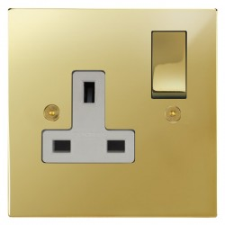 Focus SB Horizon Square Corners NHPB18.1W 1 gang 13 amp switched socket in Polished Brass with white inserts