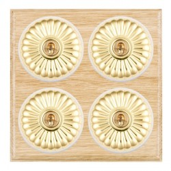 Hamilton Bloomsbury Ovolo Light Oak Fluted Polished Brass 4 Gang 2 Way Toggle with White Insert