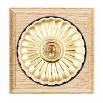 Hamilton Bloomsbury Ovolo Light Oak Fluted Polished Brass 1 Gang Intermediate Toggle with Black Insert