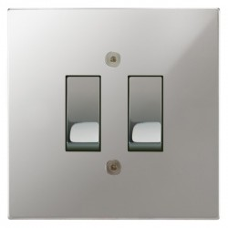 Focus SB Horizon Square Corners NHPC11.2 trimless 2 gang 20 amp 2 way rocker switch in Polished Chrome