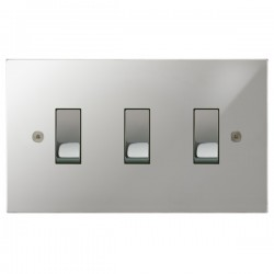 Focus SB Horizon Square Corners NHPC11.3 trimless 3 gang 20 amp 2 way rocker switch in Polished Chrome