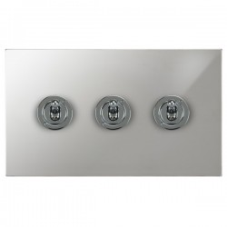 Focus SB Horizon Square Corners NHPC14.3 3 gang 20 amp 2 way toggle switch in Polished Chrome