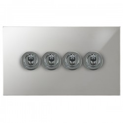 Focus SB Horizon Square Corners NHPC14.4 4 gang 20 amp 2 way toggle switch in Polished Chrome