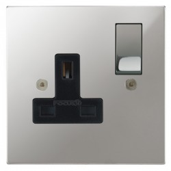 Focus SB Horizon Square Corners NHPC18.1B 1 gang 13 amp switched socket in Polished Chrome with black ins...