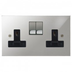 Focus SB Horizon Square Corners NHPC18.2B 2 gang 13 amp switched socket in Polished Chrome with black inserts
