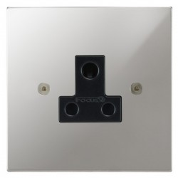 Focus SB Horizon Square Corners NHPC20.1B 1 gang 5 amp unswitched socket in Polished Chrome with black inserts
