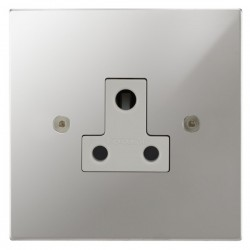 Focus SB Horizon Square Corners NHPC20.1W 1 gang 5 amp unswitched socket in Polished Chrome with white inserts