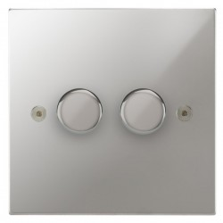 Focus SB Horizon Square Corners NHPC21.2 2 gang 2 way 250W (mains and low voltage) dimmer in Polished Chrome