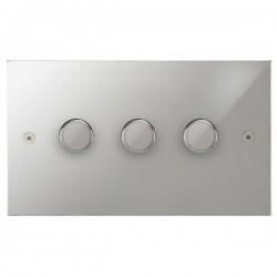 Focus SB Horizon Square Corners NHPC21.3 3 gang 2 way 250W (mains and low voltage) dimmer in Polished Chrome
