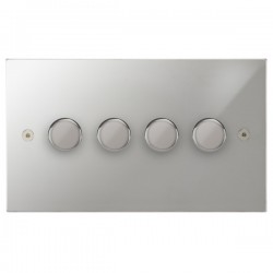 Focus SB Horizon Square Corners NHPC21.4 4 gang 2 way 250W (mains and low voltage) dimmer in Polished Chrome