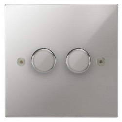 Focus SB Horizon Square Corners NHPC22.2 2 gang 2 way 400W (mains and low voltage) dimmer in Polished Chrome