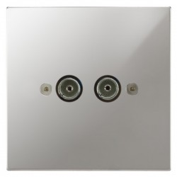 Focus SB Horizon Square Corners NHPC23.2 2 gang isolated co-axial TV socket in Polished Chrome