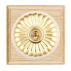 Hamilton Bloomsbury Ovolo Light Oak Fluted Polished Brass 1 Gang Double Pole Toggle with White Insert