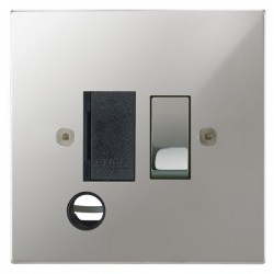 Focus SB Horizon Square Corners NHPC28.1B 13 amp switched fuse spur with cord outlet in Polished Chrome with black inserts