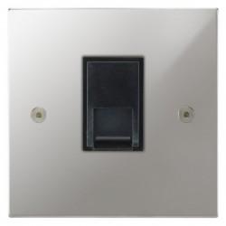 Focus SB Horizon Square Corners NHPC51.1B 1 gang CAT5 RJ45 socket in Polished Chrome with black inserts